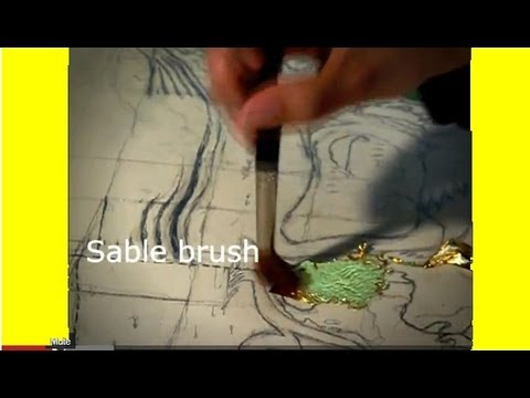 How to draw and paint abstract using Gold Leaf