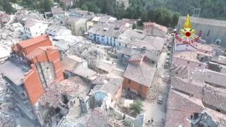 Terremoto Amatrice Rieti Distrutta 24 Agosto 2016 - Video con Drone