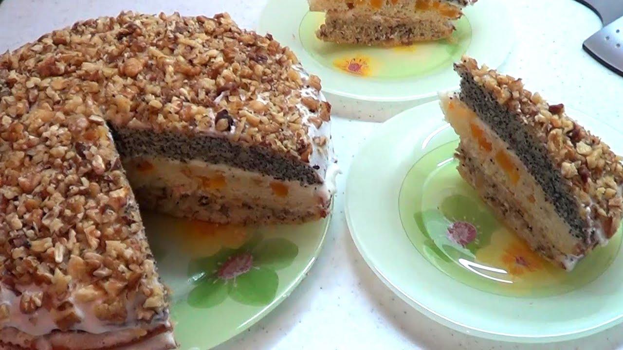 Рецепт торт фантазия с изюмом орехи мак