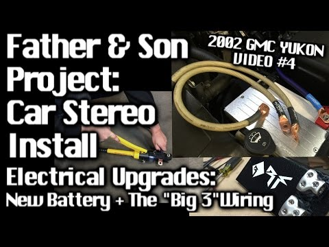 Father & Son Car Audio Install - GMC Yukon - Electrical Upgrades Big 3 Wiring - Video #4