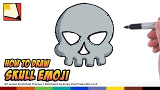 How to Draw Emojis - Skull Emoji - Step by Step for Beginners