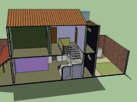 sketchup anima o de nossa futura casa duplex 3 quartos. Black Bedroom Furniture Sets. Home Design Ideas