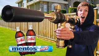 We Built DIY Coke + Mentos Cannons!! *GONE WRONG*