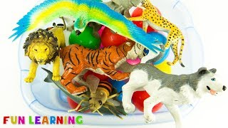 Learn Wild Animals Names and Colors For Kids With Toys and Elle The Elephant