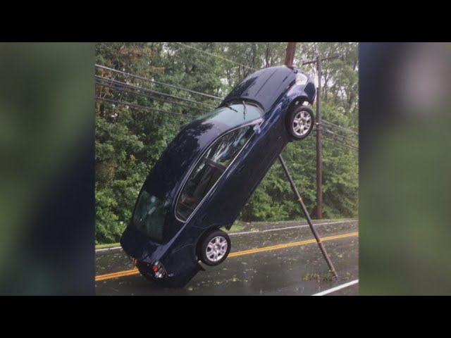 Mom and Kids Get Trapped in Car That Ended Up Standing on Bumper After Crash