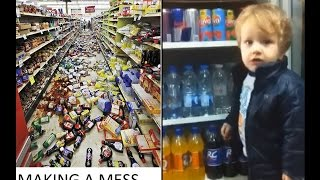 Making a mess like a boss in a supermarket