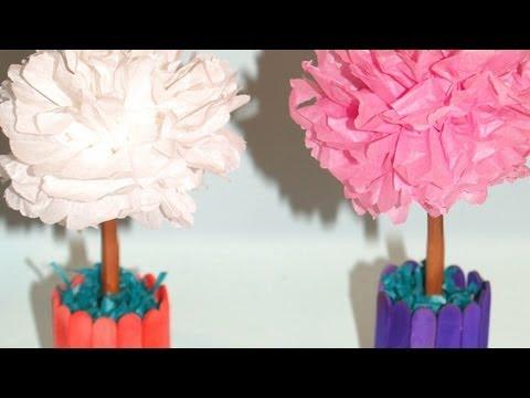Centro de Mesa con Flores de Papel de Seda - DIY - Tissue Paper ...