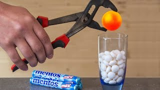 EXPERIMENT Glowing 1000 Degree METAL BALL VS MENTOS