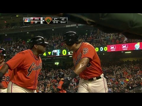 PHI@SF: Morse belts a three-run homer to left-center