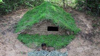 Building wooden house underground/Survival Skills Tool