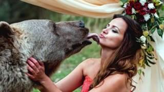 شاهد... زواج رجل وامرأة على يد دب روسي