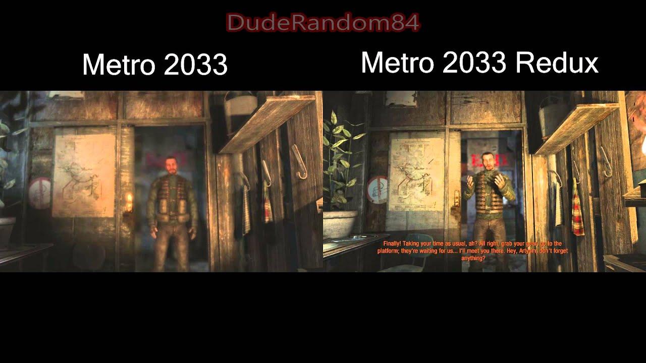 metro 2033 vs metro 2033 redux pc side by side graphics