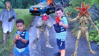 MYSTERY MONSTERS BATTLE COP KIDS AT ABANDONED RAILROAD!JAKE AND JOSH TRY TO MASTER THE FOREST...