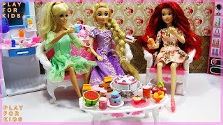 New Dresses for Barbie Rapunzel Ariel & Tea party  - Toys for kids