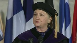 Clinton takes aim at Trump during commencement speech