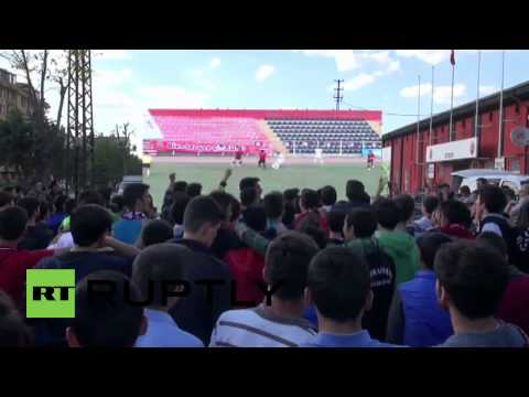 Turkey: Football manager uses crane to bypass stadium ban and watch his team