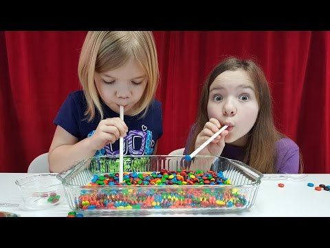 Candy challenge games using Gummy bears, M&M candy by Babyteeth4