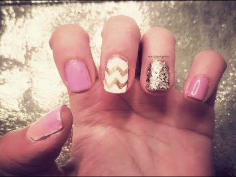 Glitter Chevron Acrylic Nails Chevron Ombre Glitter Nails