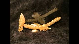 3d Origami Gold And  Silver Mini Dragons