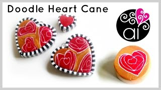 Doodle Heart Cane | Murrina Cuore Disegnato | Polymer Clay Tutorial