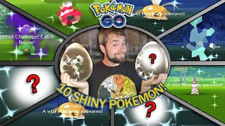10 SHINY POKEMON CAUGHT AND HATCHED! MY SHINY LUCK HAS BEEN CRAZY! GO BATTLE LEAGUE! (Pokemon GO)