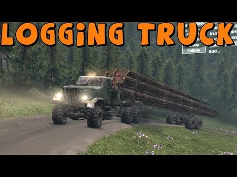 SpinTires | Mod Review | Kraz with Giant Log Trailer! | Download Link In Description