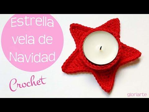Portavelas estrella de navidad de crochet y 3 ideas más.