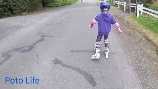 Brea learning to rollerblade, first time rollerblader