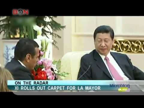 Xi rolls out carpet for LA mayor-Microblog buzz-May 31, 2013-BON TV China