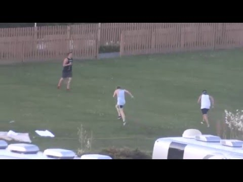 Luke, Calum, and Ashton from 5SOS exercising at Hershey Stadium 7/6/13