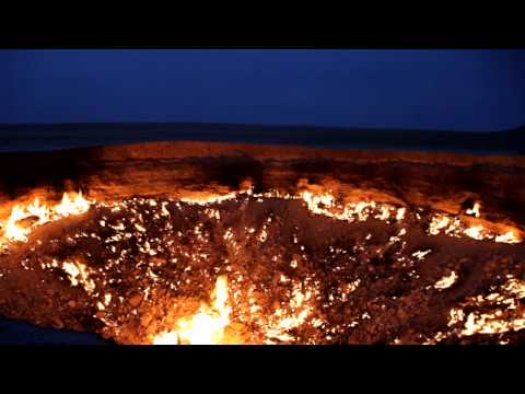 Flaming Gas Crater (Night) / Turkmenistan, Darvaza