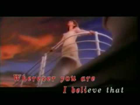 Titanic ( My heart will go on) Lyrics on screen.