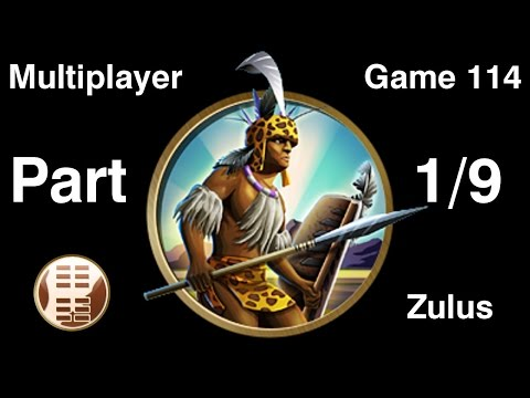 Civilization 5 Multiplayer 114: Zulus [1/9] ( BNW 6 Player Free For All) Gameplay/Commentary