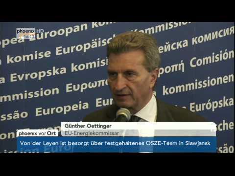 Gasversorgung: EU-Energiekommissar Oettinger zu russischen Gaslieferungen am 02.05.2014