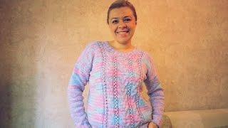 Летний вязаный пуловер со жгутами и ажурными полосками. Спицы. МК. Очень простой!
