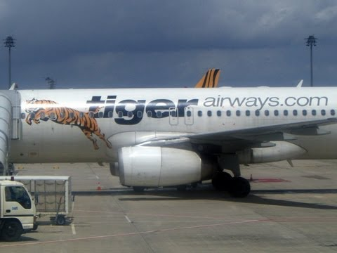 Tigerair, Tiger Airways, landing in Singapore, Singapore, Asia
