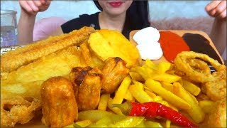 ASMR CRUNCHY FRIED FOOD FEAST(potato cake, onion ring,corn dog) | EATING SOUNDS | NO TALKING