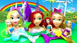 Unicorn Princess DIY Makeup Rainbow Mermaid Ariel Frozen Rapunzel Styling Heads