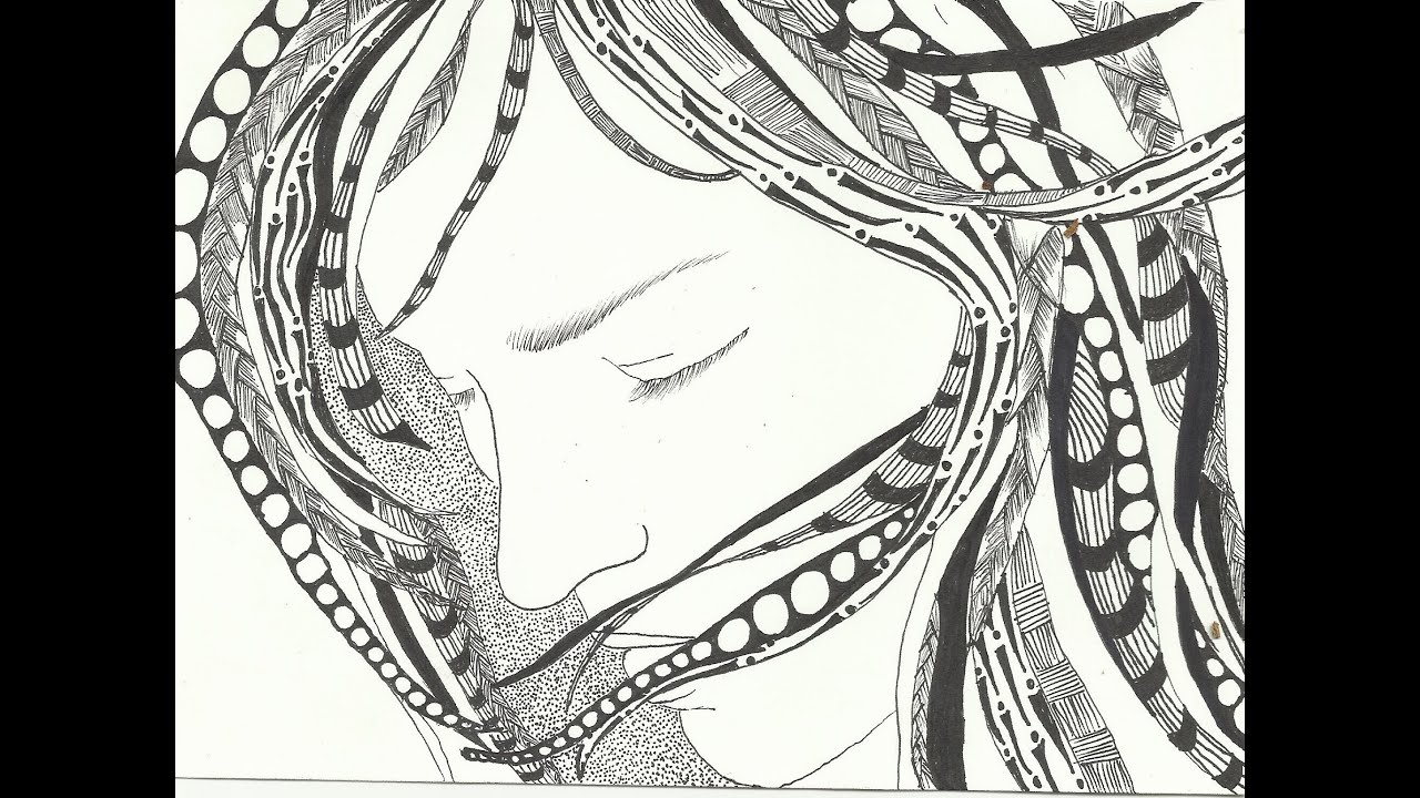 January 20 Zentangle The Girl With Tangled Hair Youtube