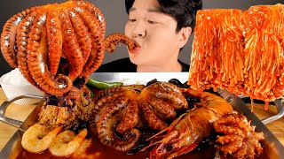 ASMR MUKBANG | SPICY SEAFOOD BOIL OCTOPUS, GIANT SHRIMP, ENOKI MUSHROOMS EATING SHOW