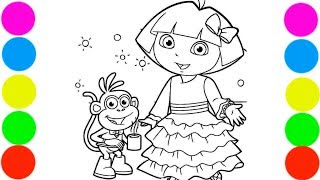 Dora and Monkey Boots Coloring Book For Kids Art Colors with Colored Markers