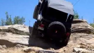 Extreme 4X4 Action! Near Vertical Wheel Stand On Steep Rock Hill, Jeep Wrangler Rubicon TJ