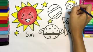 How to draw a sun, jupiter, mercury, UFO/  teaching kid to draw/ coloring