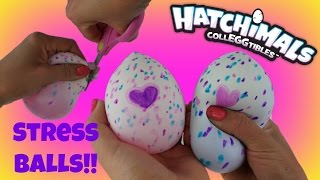 HATCHIMALS CollEGGtibles Cutting Open DIY Stress Ball Squishy with Slime & Toy inside!