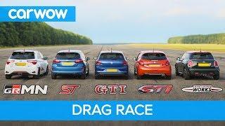 Polo GTI vs Fiesta ST vs Yaris GRMN vs MINI JCW vs 208 GTI - DRAG RACE and ROLLING RACE