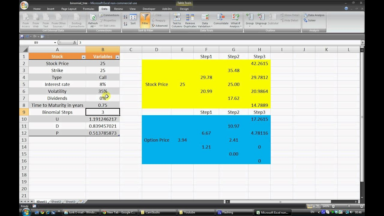 Pricing stock options in excel