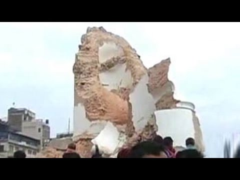 Historic Dharahara tower collapses in Kathmandu after earthquake