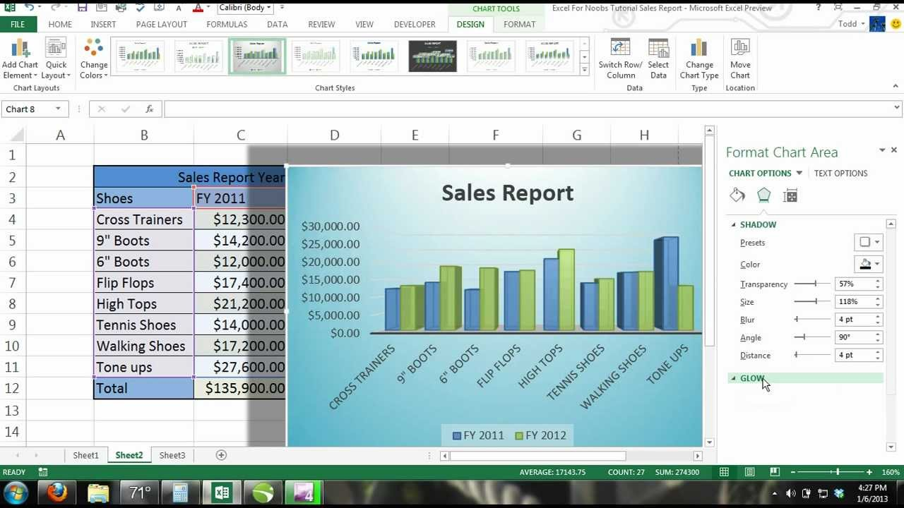 Excel 2013 Tutorial For Noobs Part 13  Charts