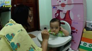 Day 200 | Ari eating Rice Soup | Newborn To 6 Month Old Baby