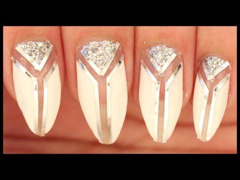 Silver & White nail art